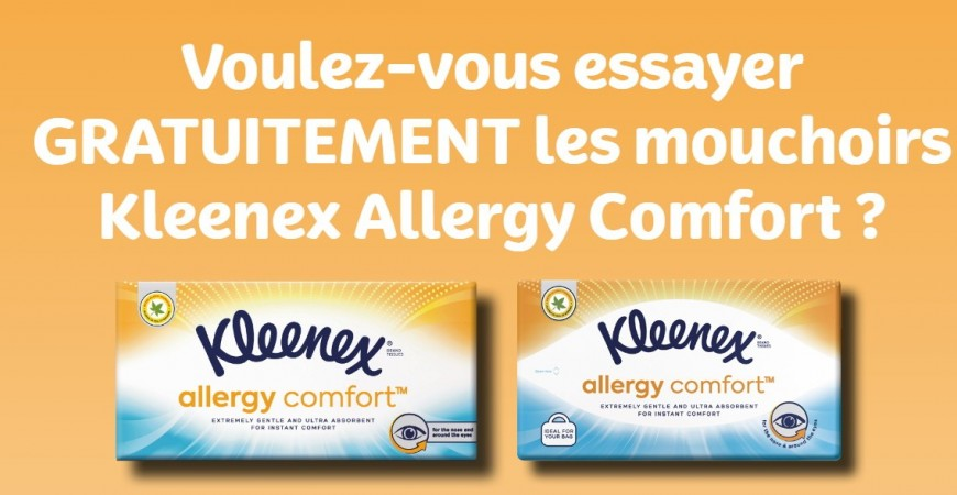 Free product - Kleenex Allergy Comfort Facial Tissues (BE)